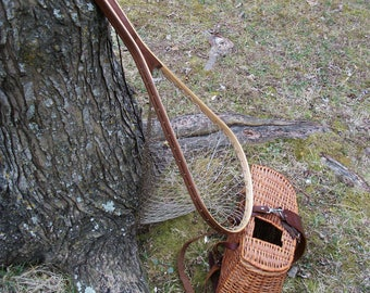 Traditional Walnut/Ash Handcrafted Fly Fishing Trout Landing Net with traditional style nylon netting