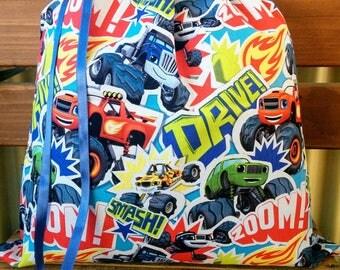Kids Library Bag - Monster Trucks.