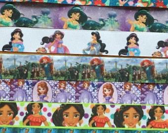 Princess Ribbon lanyard ID holder for Disney vacation, kids and adult sizes Jasmine Merida Sofia Elena Tiana Mulan Pocahontas