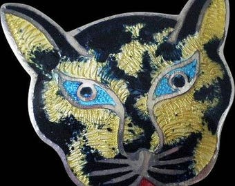 Fabulous JERONIMO FUENTES Signed JF Taxco Mexico Mid-century Sterling .925 Silver Basse-Taille Champleve Enamel Cat Pin Brooch