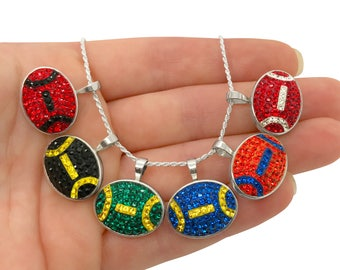Custom Made Swarovski Crystal Football Pendant Necklace, NFL & College Football Jewelry