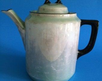 Teapot,  Green Teapot with Black Handles, Bavarian mid century teapot.  Vintage gift
