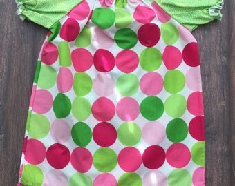 Girls Disco Dot slim fit ruffled dress, 3T, ready to ship!  Michael Miller fabric in hot pink and lime green, perfect for summer!