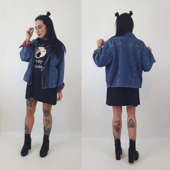 90's Baggy Denim Coat Lined/Quilted Lining Jean Jacket Large - Vintage 1990's Everyday Blue Jean Jacket - Warm Winter Streetwear Outerwear