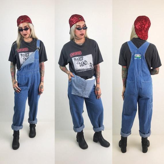 90's Denim Overalls Blue Jean Pants Jumpsuit Medium - Baggy Womens VTG Carpenter Overalls 1990's Fashion - Denim Boot Cut Pants Jumpsuit