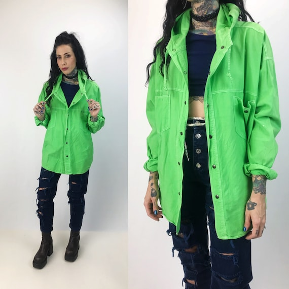 90's Neon Hooded Button Up Top Adult Medium - Cotton Button Front Jacket With Hood - Grunge Street Wear Hooded Top Bright Neon Acid Green