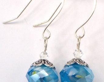 Aqua Blue Crystal Earrings, Turquoise Blue Dangles, Blue Crystal Drop Earrings, Rustic Blue Earring Dangles, Blue Swirled Earrings (E665)
