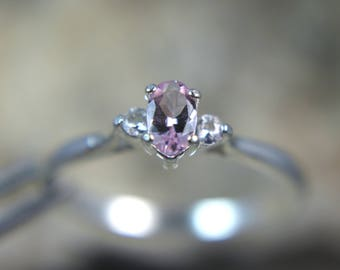 Petite ELITE Blush Pink Morganite .925 Sterling Silver Ring with White Sapphire Accents!