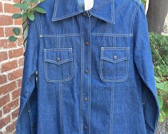 Montgomery Ward's Denim Shirt Jacket--Montgomery Ward Jacket--Vintage Denim Jacket--Vintage Denim Shirt Jacket--1970s