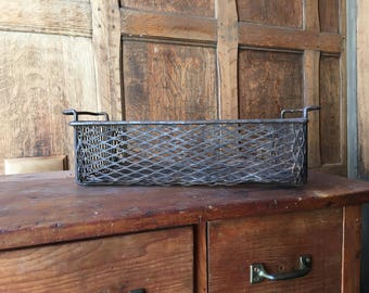 Vintage Industrial Basket, Expanded Metal Mesh Basket, Industrial Storage
