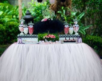 White Tulle tutu Table Skirt