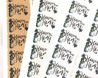 Happy Mail Labels / Honey I'm Home Packaging Stickers / Hand Drawn Modern Calligraphy Floral Label / Business Packaging Inspiration Sticker
