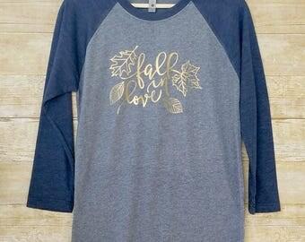 Raglan shirt, fall raglan, fall raglan shirts, fall t-shirt for women, thanksgiving shirt, adult fall shirt, fall raglan tee, fall in love