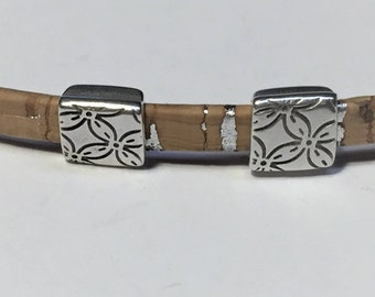 SALE: 2 Sterling Silver Plated 5mm Flat Leather Floral Square Sliders, Jewelry Making Supplies, Leather Bracelet Finding
