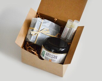 Holiday Gift Box | Spa Skin Care Set, Birthday Gift Pack, Teacher Gift, Valentine's Day Gift Idea, Natural Soap Bar, Lip Balms, Body Butter