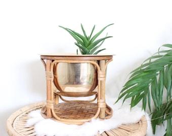 Vintage Brass Planter on Bamboo Pedestal Hollywood Regency Brass Pot Boho Home Decor