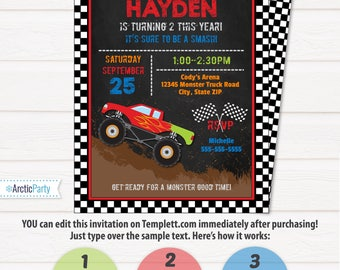 Monster Truck Invitation - Monster Truck Birthday Invitation - Monster Truck Birthday Party - Monster Truck Party - INSTANT ACCESS!