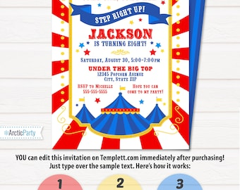 Circus Invitations - Carnival Birthday Invitations - Carnival Themed Invitations - Circus Party Invitations - INSTANT ACCESS - Edit NOW!