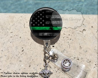 Thin Green Line Badge Reel, Military, Federal Agents, Border Patrol, Park Rangers, Game Wardens, Conservation Personnel, Badge Holder, MB435