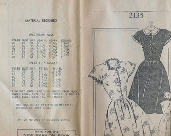 1940s Mail Order 2135 Women's Dress with Sweatheart Neckline or Collar Sewing Pattern