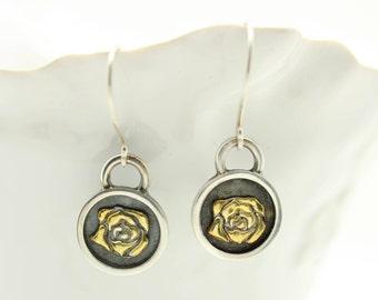 Lucky in Love Rose Talisman Earrings Sterling Silver 22k gold Artisan Earrings 925