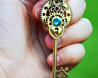 Teal Gold Steampunk key necklace