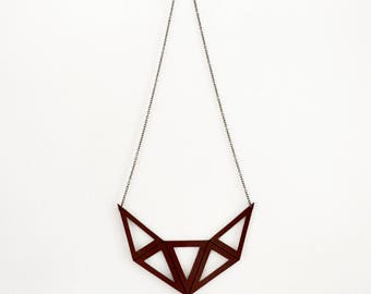 Leather necklace // Leather choker // Women necklace // Geometric necklace / Brown Necklace / Leather jewelry for women / Hipster necklace