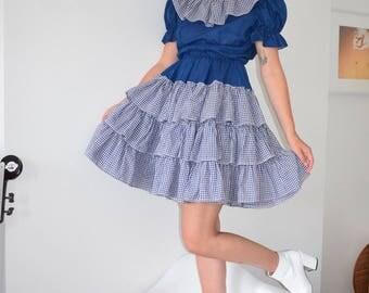 Navy Gingam Mini Ruffle Dress
