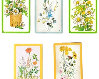 "Vintage ""SEE HOW They GROW"" Bulk Lot / Assorted /  Flower / Floral / Grapes / Mushrooms Playing Cards / Swap Cards / Artist Trade Cards"