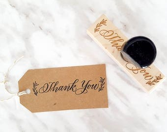 Thank you Wooden Stamp with handle | Hand lettered custom stamp | Thanks | Wooden Stamp with Handle | Wedding Envelope Stamp |