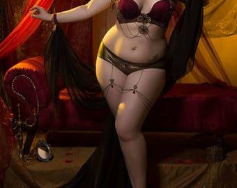 Fantasy Costume Sexy Love Goddess Bellydance Bra Chain garter Tribal Fusion set Fantasy Slave Lingerie Cosplay Burlesque Showgirl Stage wear