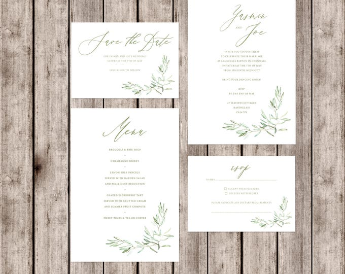Featured listing image: Artisan style 'Tuscany' wedding invitations with olive branch detail and matching accessories
