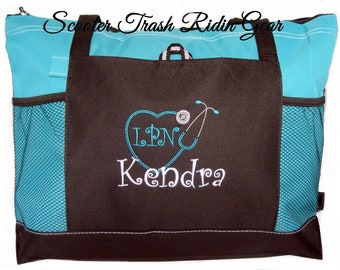 Free Shipping - Personalized Nurse Stethoscope Tote Bag - RN LPN CNA - monogrammed New