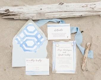 Nautical Wedding Invitations/ Nantucket Wedding Invitations / Cape Cod Wedding Invites / Martha's Vineyard Invites / Island Wedding
