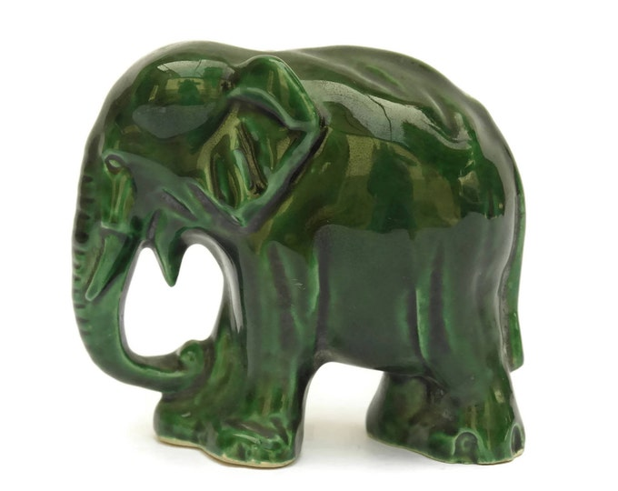 Vintage French Pottery Elephant Coin Bank. Green Majolica Elephant Figure Money Box.