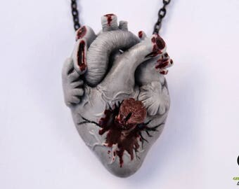Vampire heart necklace, Anatomical heart, Vampire necklace, Human heart, Goth necklace, Polymer clay necklace, alternative necklace, vampire