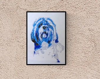 Shih tzu - custom dog portrait - Custom pet portrait - personalized dog - dog illustration - pet lover gift - Shih tzu portrait