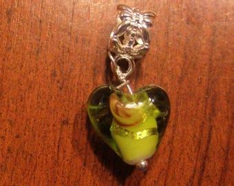 Green silver heart lampwork pendant