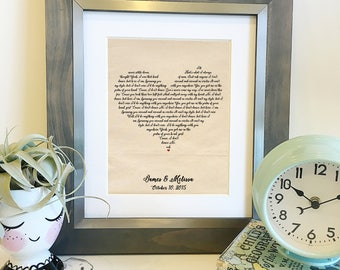 SALE Personalized Heart Shaped Lyrics | Choose your lyrics | Wedding Song Lyrics Print | Cotton 2nd Anniversary gift | Frame not included
