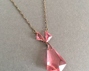 Art Deco Necklace Delicate Pink Glass Drop Pendant  & Silver Chain