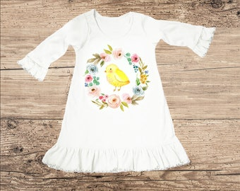 Chick Dress with Flower Wreath, Ruffle Toddler Dress, Baby Dress