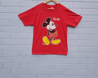SALE Vintage Late 1980s Early 1990s Red Cotton Micky Mouse Orlando Florida Walt Disney World Land Crew Neck Tee T-shirt Mens S M Womens M L