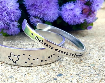 Long Distance Relationship Bracelet Jewelry - Across the Miles - Hand Stamped Distance Means So Little When Someone Means So Much - Military