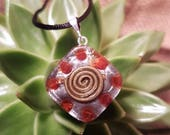 Carnelian Orgone Pendant - Spiral - Sacral Chakra - Lightworker Jewelry - Orgone Chi Prana Energy Balancing - Small