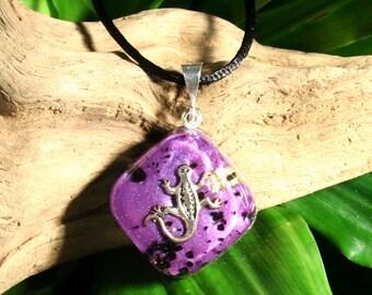 Black Tourmaline Orgone Pendant - Gecko  - Handmade Healing Jewelry - Root Chakra Energy Balancing - Small