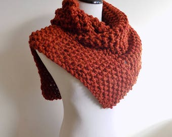 Knit Cowl - Spice Color Knitted Shoulder Cowl - Rust Knit Cowl - Russet Shawl Cowl - Knitted Shawl - Burnt Sienna Chunky Knit Scarf