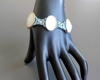 Blue Hemp Bracelet with Faceted White Medallions