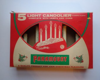 Vintage Paramount Candolier 5 Candle Light Christmas Display Decoration New in Original Box 1960s MCM Kistch
