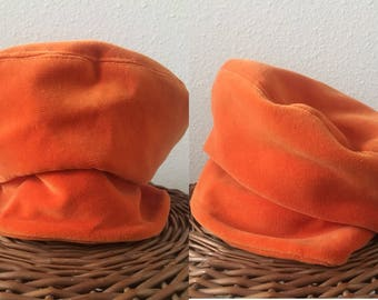 vintage 60's ORANGE VELVET NEWSBOY cap - Mod, hat, floppy