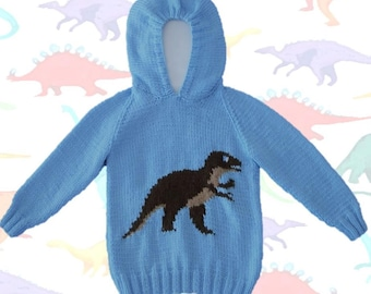 Knitting pattern for Dinosaur Child's Hoodie,Tyrannosaurus Knitting Pattern, Dinosaur Jumpers,  T Rex knitting pattern, Digital download pdf